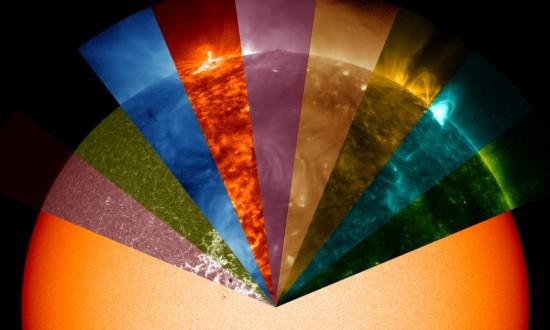 NASA太阳动力学观测站还原太阳表面9种颜色波长