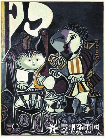 毕加索名画《两个小孩》。