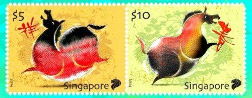 新加坡农历年纪念邮票遭吐槽骏马被指像烧鸡(图)