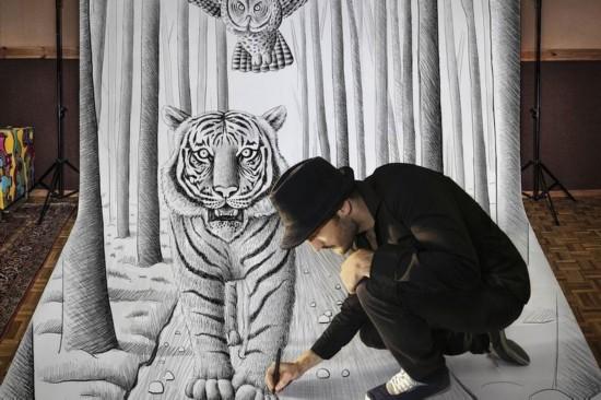 比利时艺术家3D素描画震撼观者视觉