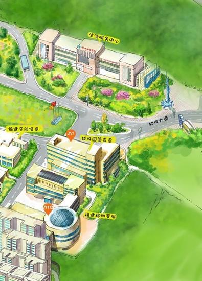 动画片导演手绘福州软件园地图