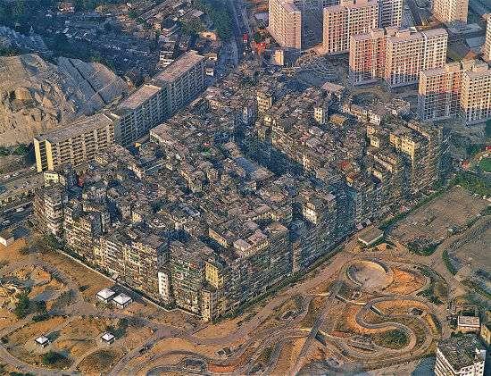 展览展出的香港九龙城寨历史鸟瞰图