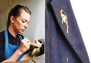 女艺术家推鸟粪飞溅造型胸针