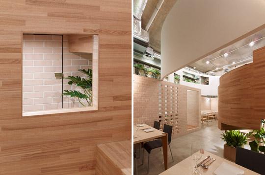 原标题:漂浮的餐厅 日本有机餐厅室内设计案例 这是日本的一家有机餐厅,距离东京最大公园之一奥林匹克公园咫尺之遥。餐具位于一栋三层公寓的底部,地面标高低于地平面1.61米, 处于一个半地下的状态,同时也获得了4.39米的室内层高。 餐厅主要由三个部分组成:外卖小酒馆,有机食品商店,餐厅。