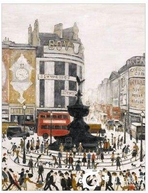 图为名家洛瑞于1960年创作的珍贵布面油画作品《伦敦皮卡迪利广场》。