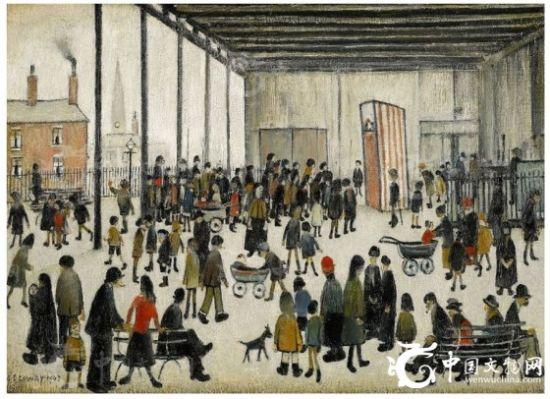 图为名家洛瑞于1943年绘制完成的经典布面油画作品《潘奇与朱迪》(PunchandJudy)。