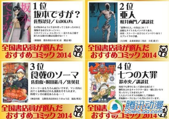 全日本书店员评选漫画排行榜出炉