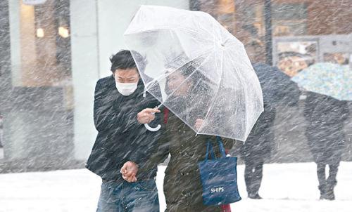 日本东京遭暴雪袭击一片混乱旅客叫苦连天(图)