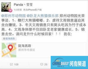 """网友称大熊猫锦意曾被逼""""坐台""""吃窝头 园方否认(图)"""