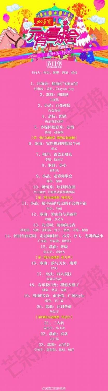 2014湖南卫视元宵喜乐会完整节目单