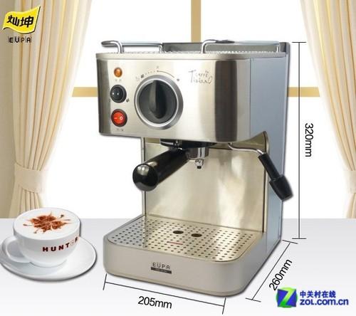 热至沸腾,通过引流管流至咖啡盒 多功能旋钮可调节出咖啡,出热水