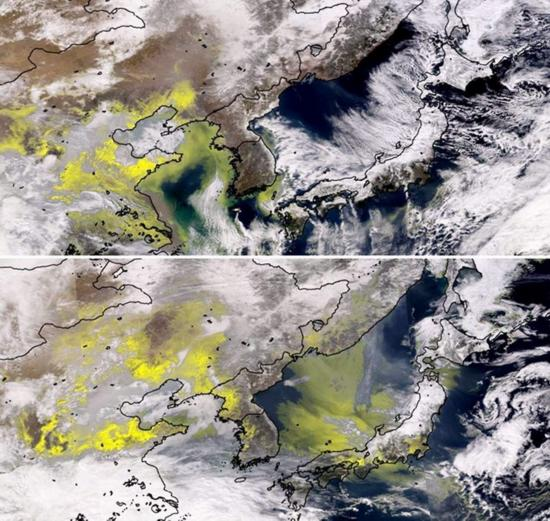 日本多地PM2.5浓度上升,图中黄色表示空气污染物质(网页截图)