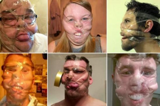 英国大学生脸缠胶带疯狂自拍照走红