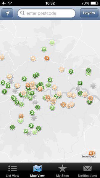 图为今日伦敦附近空气质量示意图