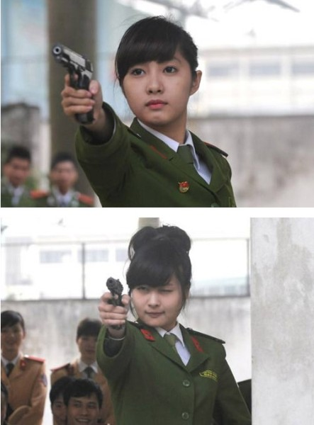 越南士兵美女演绎真人照走红美女动漫曝光军装图片