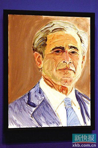美国前总统小布什开肖像画展