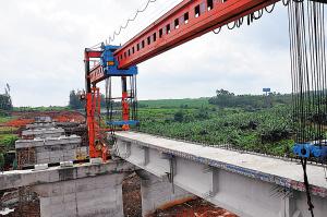 海南西环铁首座桥梁在福山段开架