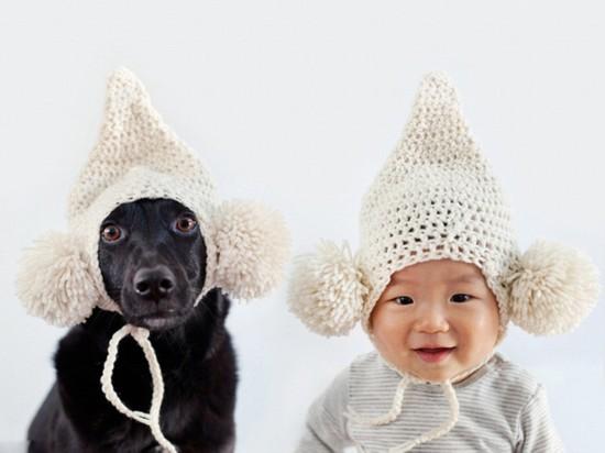 """宠物狗与男童""""双胞胎""""有爱造型照"""
