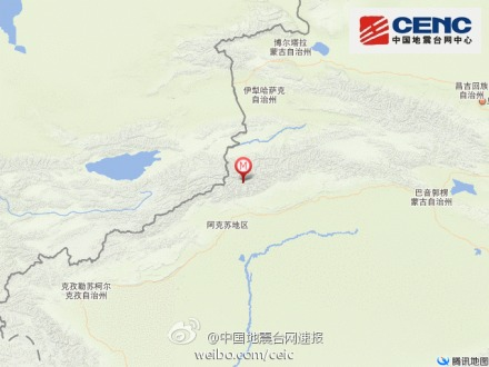 新疆温宿县发生3.2级地震 震源深度8千米