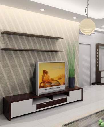 客厅电视墙装修图片:近年来,背景墙的材质和装饰手法不断创新,