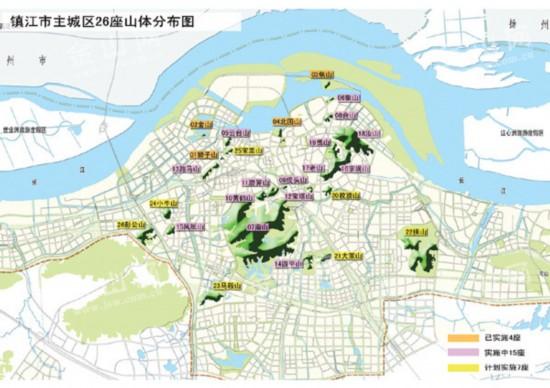 我市主城区将坐拥26座山体公园 省内唯一,全国也不多见   说起主城区山体公园建设,作为城市规划设计的研究机构,市规划设计研究院主任规划师朱晓芳对其中的来龙去脉十分清楚。   让市民出门500米就有公园绿地   2009年5月,市委、市政府决定,用两年时间,在镇江主城区范围内实施青山绿水改造计划,其中就涉及对部分主城区山体的整治建设。朱晓芳说,青山绿水两年行动,主要对主城区范围内的11座山体(云台山、宝盖山、跑马山、虎头山、狮子山、黄鹤山、磨笄山、花山、象山、合山、鼎石山)和3条通江河道(