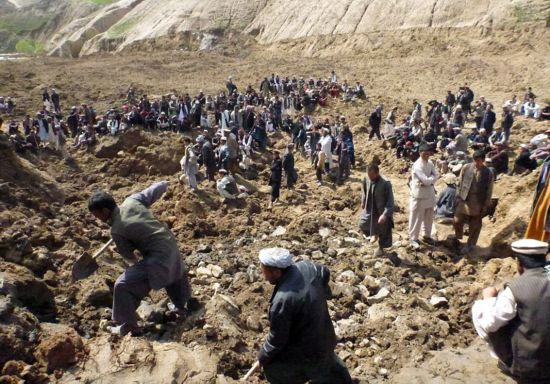 阿富汗山体滑坡灾后景象 场面震撼