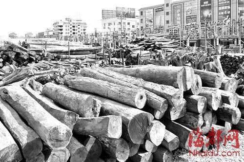 红木市场上,原料积压严重