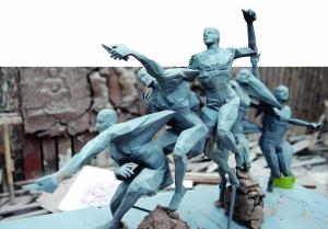 """50多件青奥雕塑亮相南京 """"3D林丹""""左手扣球"""