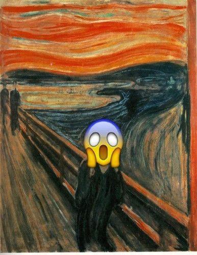 手机 表情/名画《呐喊》被贴表情符号。
