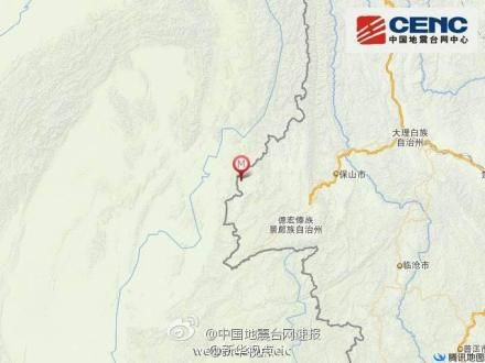 地图-云南德宏盈江县发生5.6级地震 震源深度12千米图片
