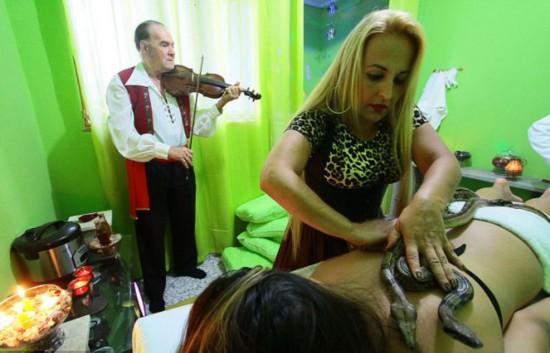 """巴西美容院为顾客提供""""蟒蛇按摩""""受热捧(图)"""