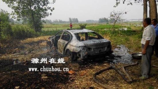 滁州天长:村民开着宝马收麦子 着火被毁(图)