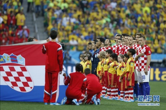 克罗地亚队首发阵容在奏国歌时.当日,2014年巴西世界杯在圣保罗图片