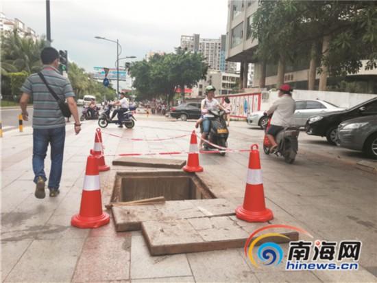 海口人行道被反复开挖 步道所:我们无权查处