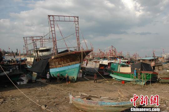 图为临高县新盈镇昆社村的渔港内,渔民在夏季休渔期间忙着修补渔船。 王辛莉 摄