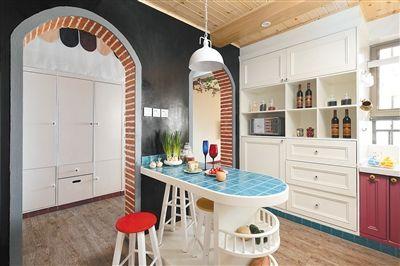 用在厨房也不例外,半圆形的拱门搭配同样的餐台刚刚