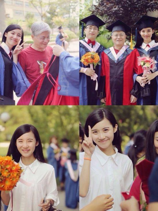 美女硕士抱儿子怀女儿拍毕业照 网友感叹:人生