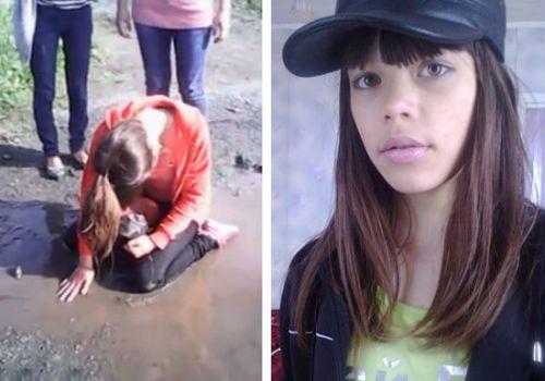 俄13岁女生因长相太美遭同学强迫跪地喝泥水(图)
