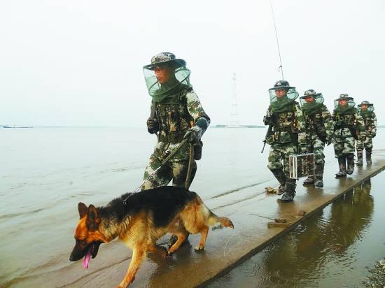 图:我军驻黑瞎子岛军人穿新式防蚊服巡逻