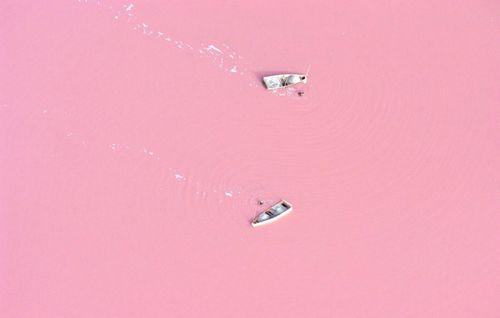 大自然的女生心澳大利亚少女般的粉红色湖泊胸部梦幻出水图片