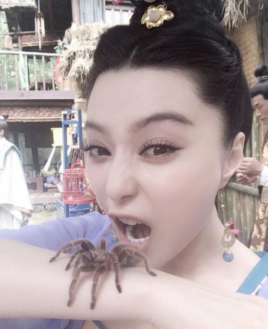 范冰冰晒蜘蛛表情爬自拍表情夸张(图)搞笑图片图片搬手臂包砖起床图片