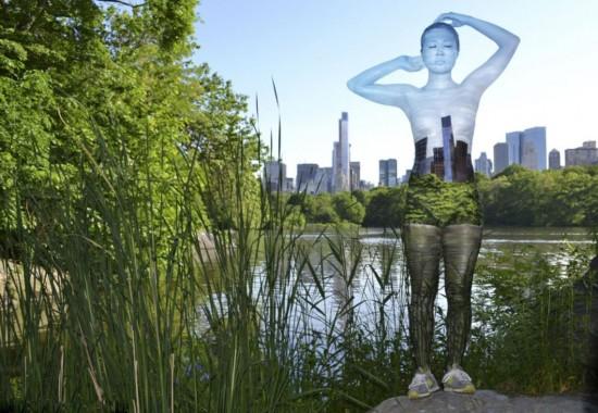 美艺术家高超伪装 人体彩绘融入建筑【组图】