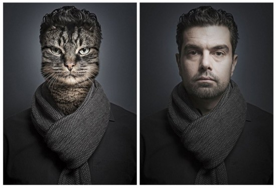 猫与主人照片合成 猫脸人