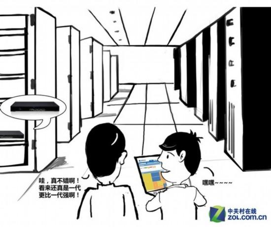 面对干净整洁的机房,简单、直观的管理界面,老李发出慨叹.-漫画图片