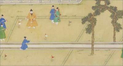 《宣宗行乐图》局部。这幅在古代体育史上极其重要的图中,描绘了射箭、马球等多项运动场景,像捶丸这样宣宗亲自下场参与的,并不多。资料图片
