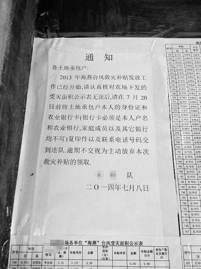 南滨农场灾后补助每亩3.1元 还不够买1斤菜