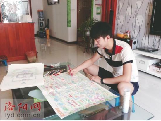 """19岁洛阳大学生手绘实景""""洛阳地图""""(图)"""