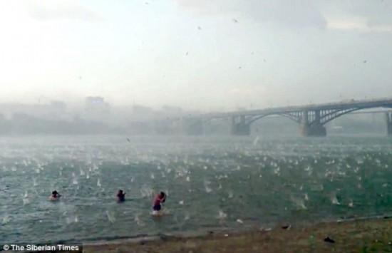 西伯利亚海滩酷暑天突降冰雹