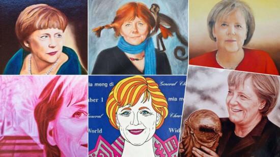 默克尔迎60岁生日 德国民众为其画肖像庆祝
