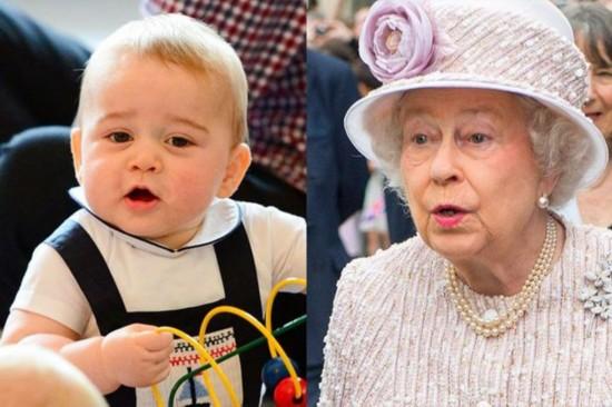 乔治小王子撞脸女王曾祖母 两人表情神一致